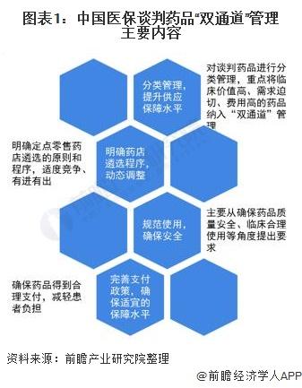 """图表1:中国医保谈判药品""""双通道""""管理主要内容"""