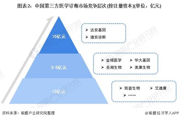 图表2:中国第三方医学诊断市场竞争层次(按注册资本)(单位:亿元)