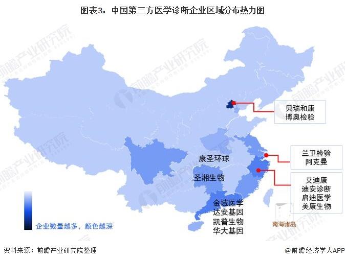 图表3:中国第三方医学诊断企业区域分布热力图