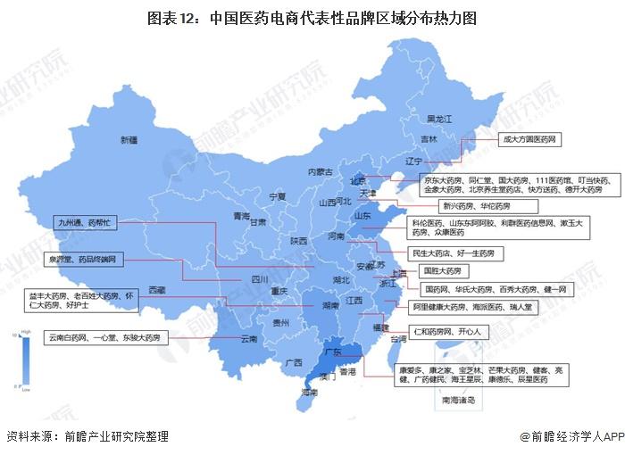 图表12:中国医药电商代表性品牌区域分布热力图