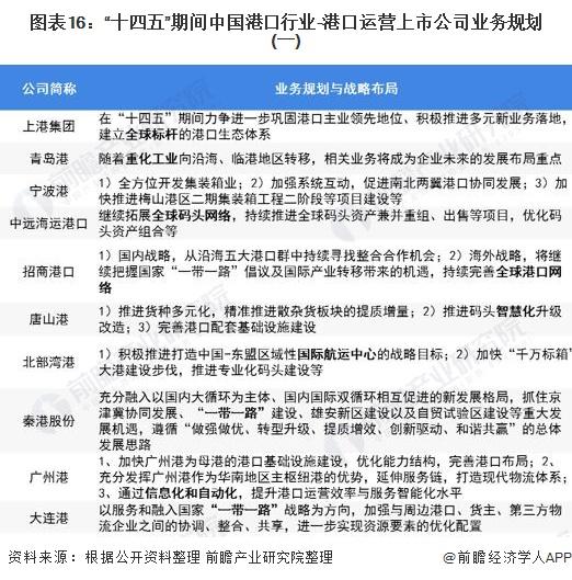 """图表16:""""十四五""""期间中国港口行业-港口运营上市公司业务规划(一)"""