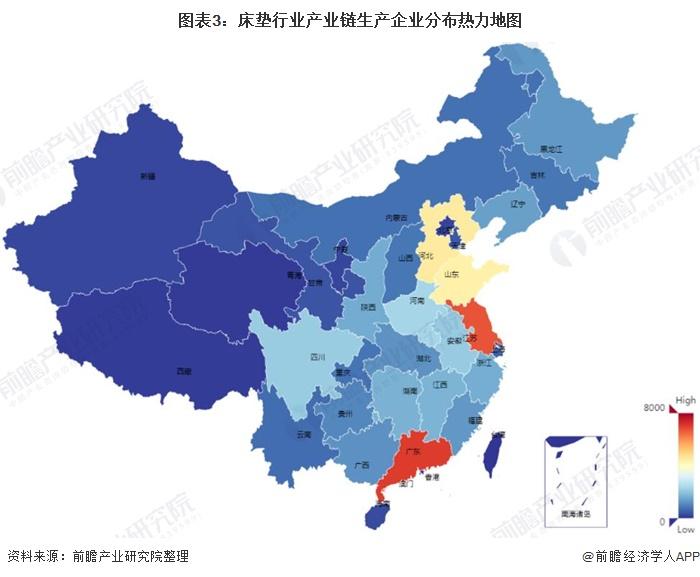 图表3:床垫行业产业链生产企业分布热力地图