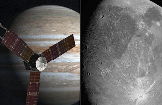 """NASA""""朱诺号""""探测器首次拍到最大卫星木卫三照片:灰扑扑、坑多似月亮"""