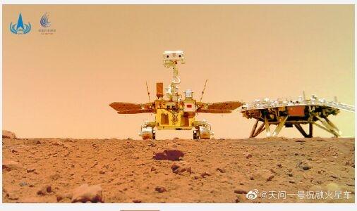 """""""祝融号""""火星车拍摄的火星地形地貌来了:近处表面平坦,石块大小不一"""