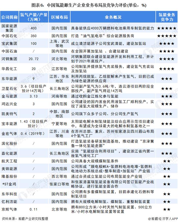 图表6:中国氢能源生产企业业务布局及竞争力评价(单位:%)