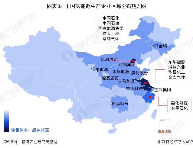 图表3:中国氢能源生产企业区域分布热力图