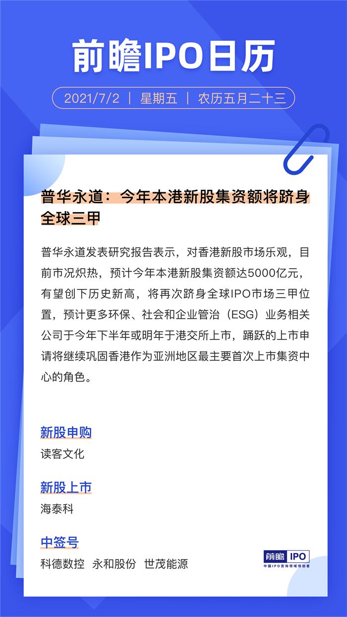 IPO日历丨普华永道:今年本港新股集资额将跻身全球三甲