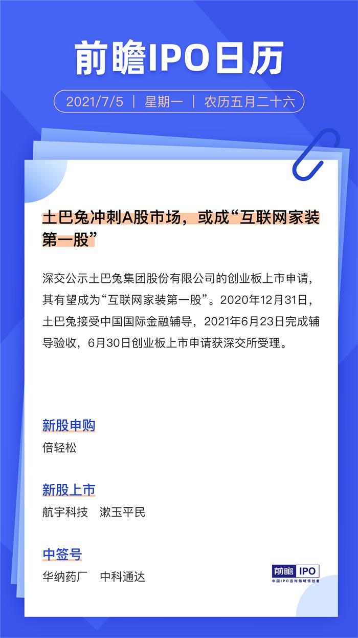 """IPO日历丨土巴兔冲刺A股市场,或成""""互联网家装第一股"""""""