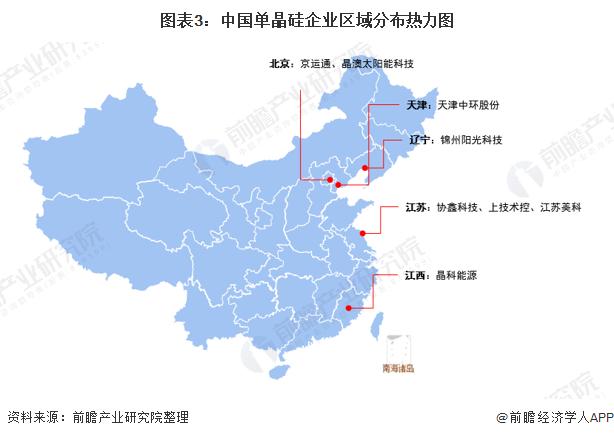 图表3:中国单晶硅企业区域分布热力图