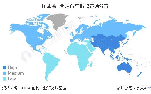 图表4:全球汽车贴膜市场分布