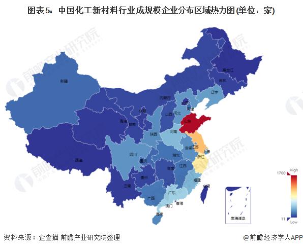 图表5:中国化工新材料行业成规模企业分布区域热力图(单位:家)