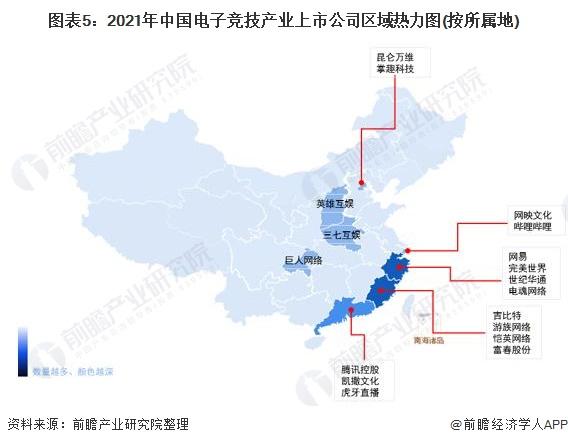 图表5:2021年中国电子竞技产业上市公司区域热力图(按所属地)