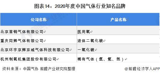 图表14:2020年度中国气体行业知名品牌