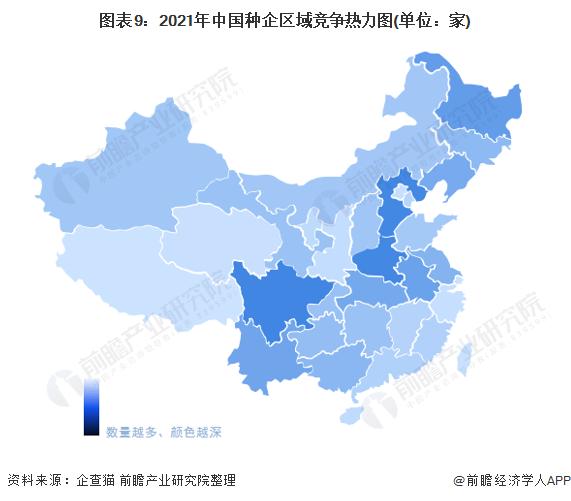 图表9:2021年中国种企区域竞争热力图(单位:家)