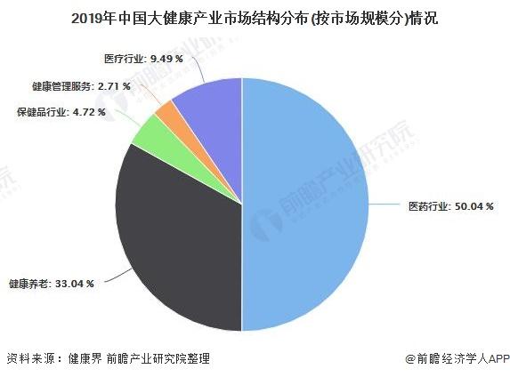 2019年中国大健康产业市场结构分布(按市场规模分)情况