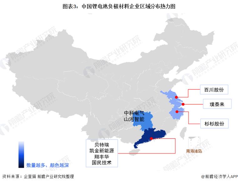 图表3:中国锂电池负极材料企业区域分布热力图