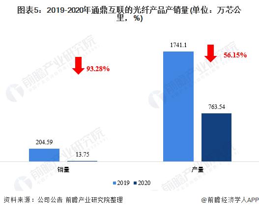 图表5:2019-2020年通鼎互联的光纤产品产销量(单位:万芯公里,%)