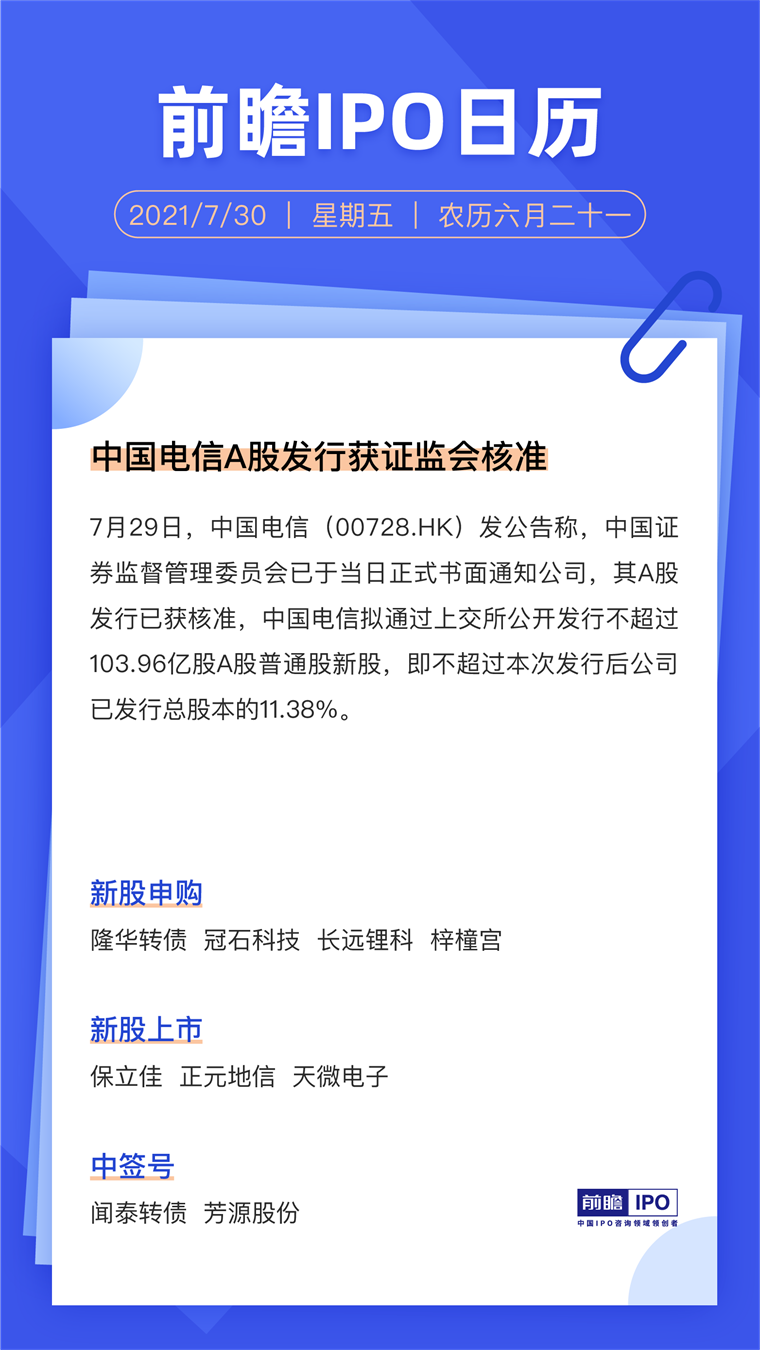 IPO日历丨中国电信A股发行获证监会核准
