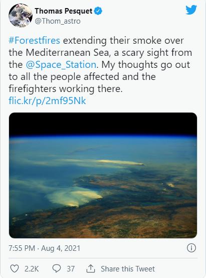 痛心!肆虐多国的山火 在宇宙中清晰可见