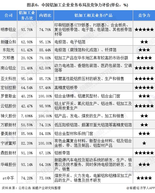 图表6:中国铝加工企业业务布局及竞争力评价(单位:%)
