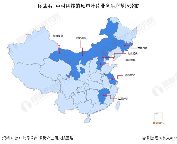 圖表4:中材科技的風電葉片業務生產基地分布