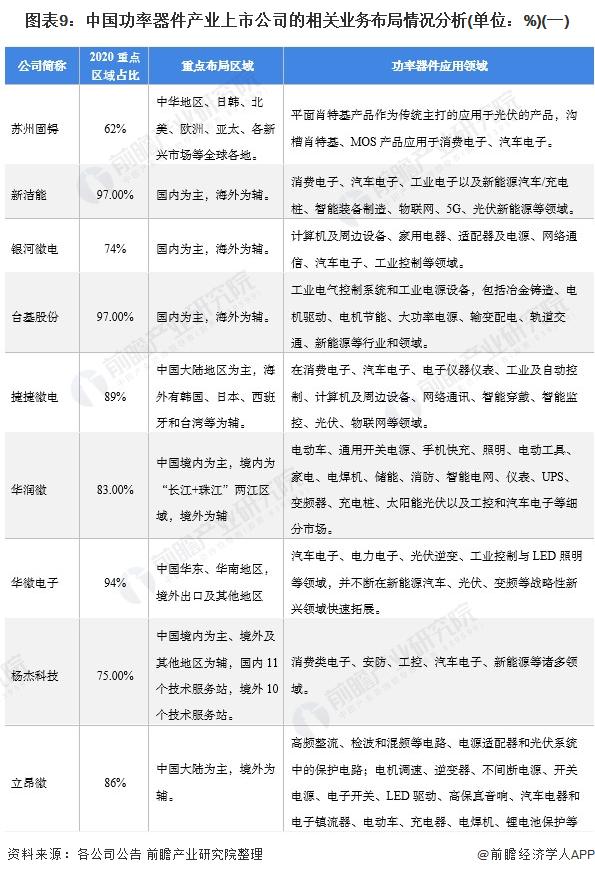 图表9:中国功率器件产业上市公司的相关业务布局情况分析(单位:%)(一)