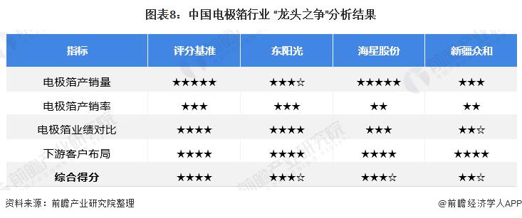 """图表8:中国电极箔行业 """"龙头之争""""分析结果"""