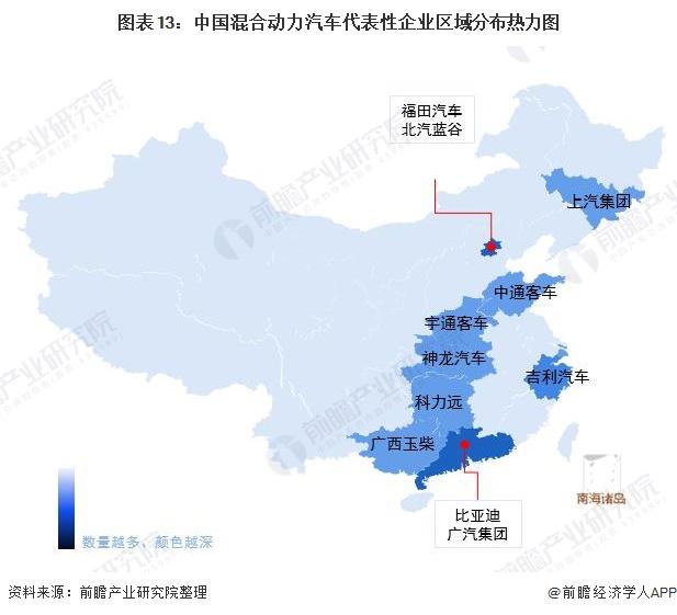 图表13:中国混合动力汽车代表性企业区域分布热力图