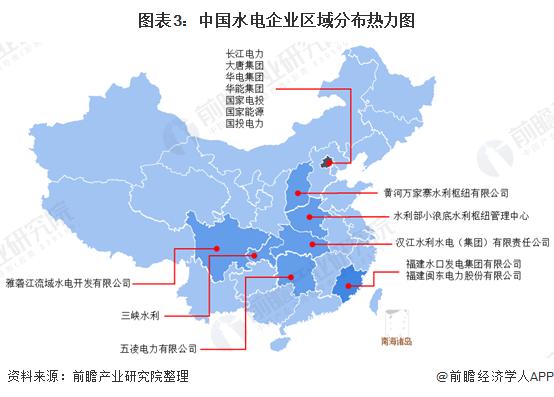 圖表3:中國水電企業區域分布熱力圖