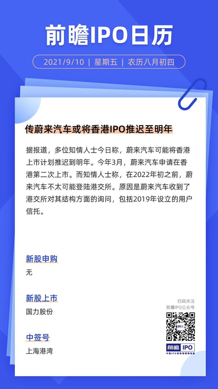 IPO日历 | 蔚来汽车或将香港IPO推迟至明年,国力股份新股上市