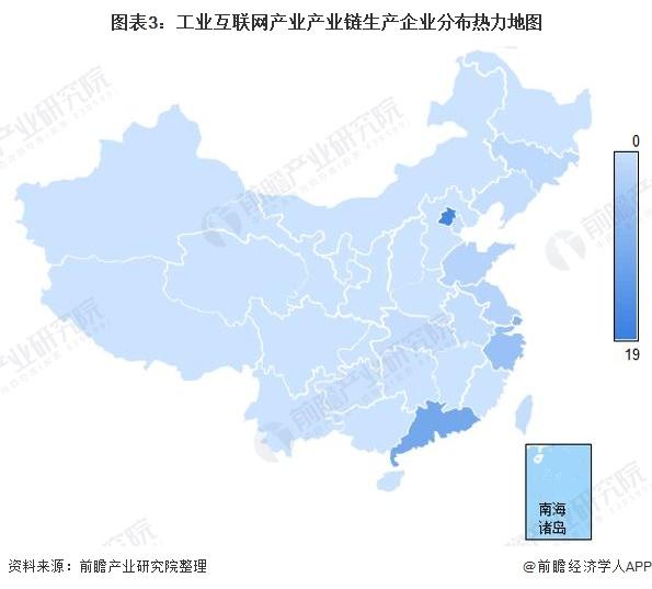 图表3:工业互联网产业产业链生产企业分布热力地图