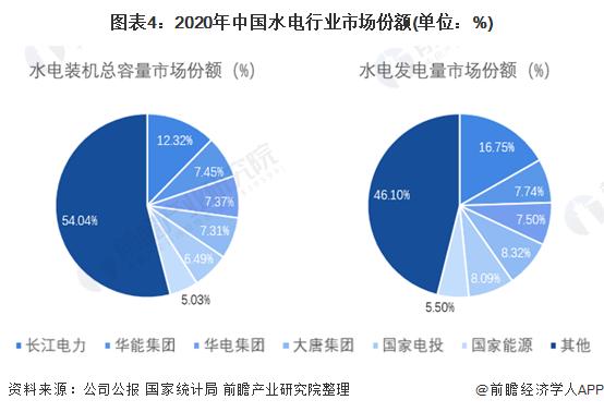 圖表4:2020年中國水電行業市場份額(單位:%)