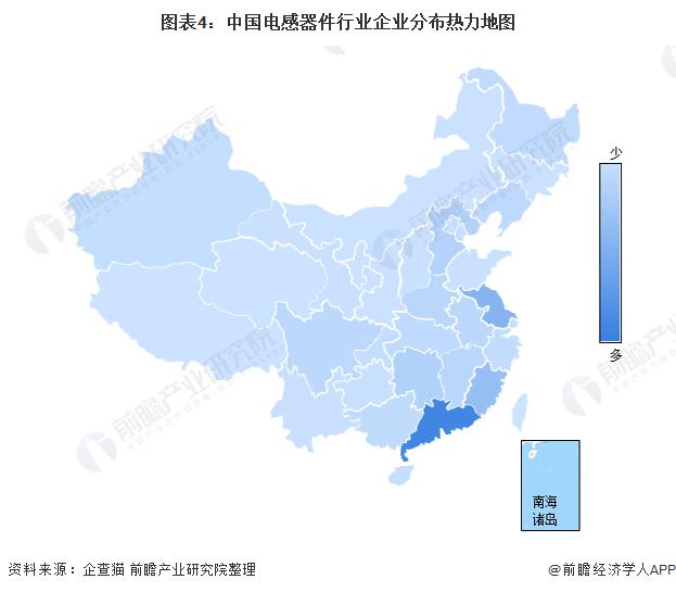 图表4:中国电感器件行业企业分布热力地图