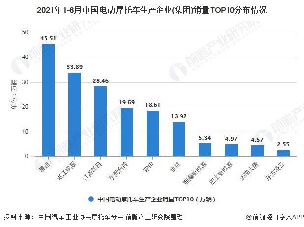 2021年1-6月中国电动摩托车生产企业(集团)销量TOP10分布情况