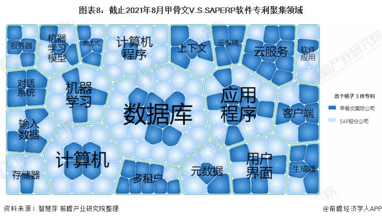 图表8:截止2021年8月甲骨文V.S.SAPERP软件专利聚集领域