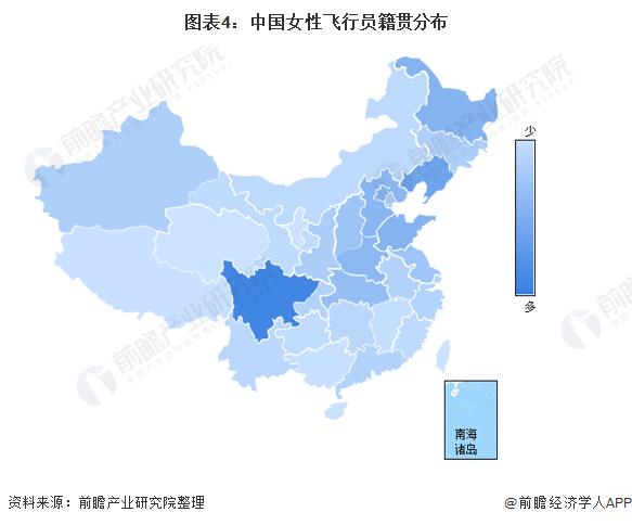 图表4:中国女性飞行员籍贯分布