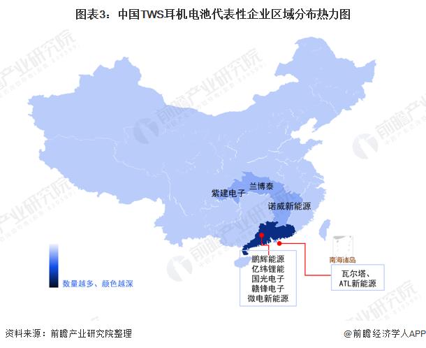 图表3:中国TWS耳机电池代表性企业区域分布热力图