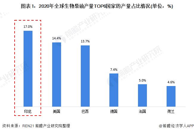 图表1:2020年全球生物柴油产量TOP6国家的产量占比情况(单位:%)