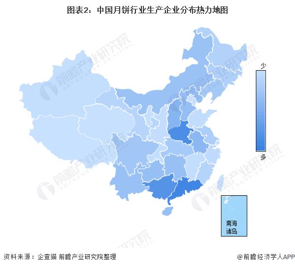 图表2:中国月饼行业生产企业分布热力地图