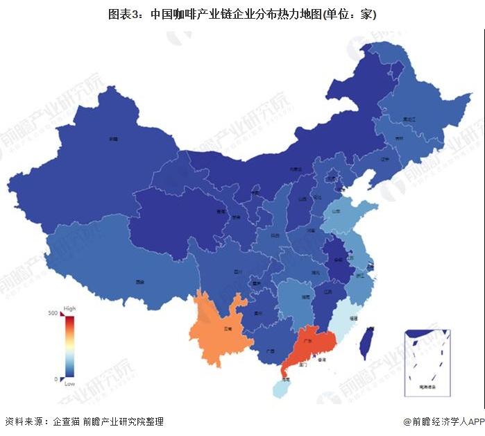 图表3:中国咖啡产业链企业分布热力地图(单位:家)