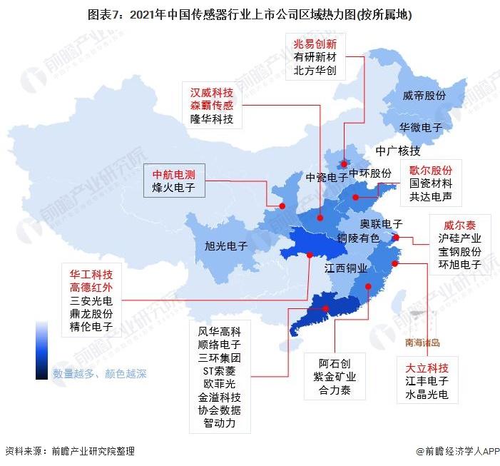 圖表7:2021年中國傳感器行業上市公司區域熱力圖(按所屬地)