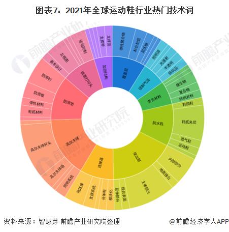 图表7:2021年全球运动鞋行业热门技术词