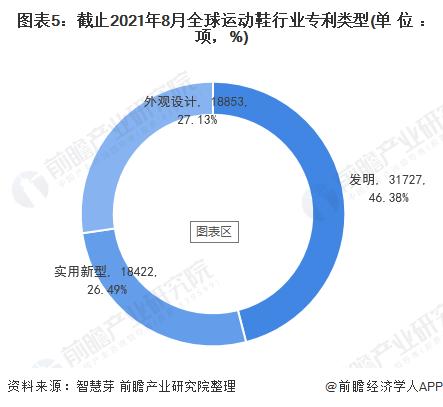 图表5:截止2021年8月全球运动鞋行业专利类型(单位:项,%)