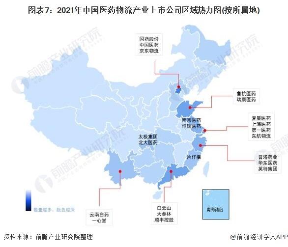 图表7:2021年中国医药物流产业上市公司区域热力图(按所属地)