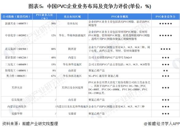 图表5:中国PVC企业业务布局及竞争力评价(单位:%)