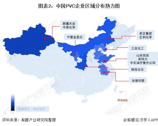 图表2:中国PVC企业区域分布热力图