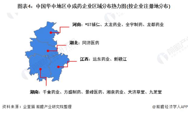圖表4:中國華中地區中成藥企業區域分布熱力圖(按企業注冊地分布)