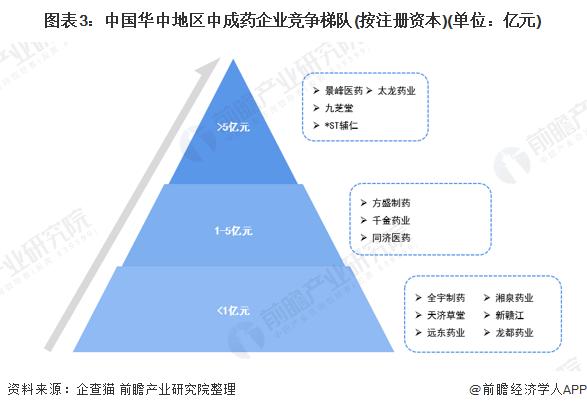 圖表3:中國華中地區中成藥企業競爭梯隊(按注冊資本)(單位:億元)