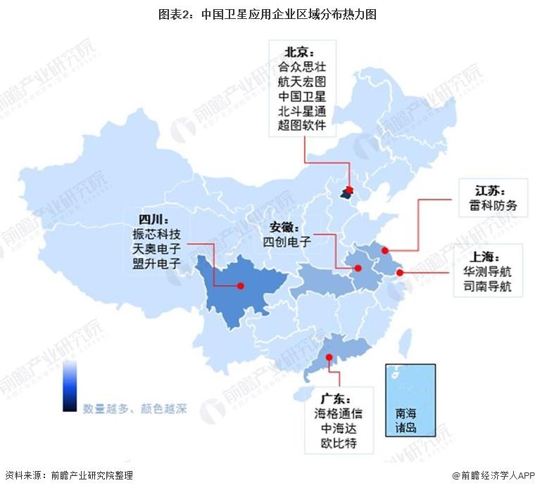 圖表2:中國衛星應用企業區域分布熱力圖