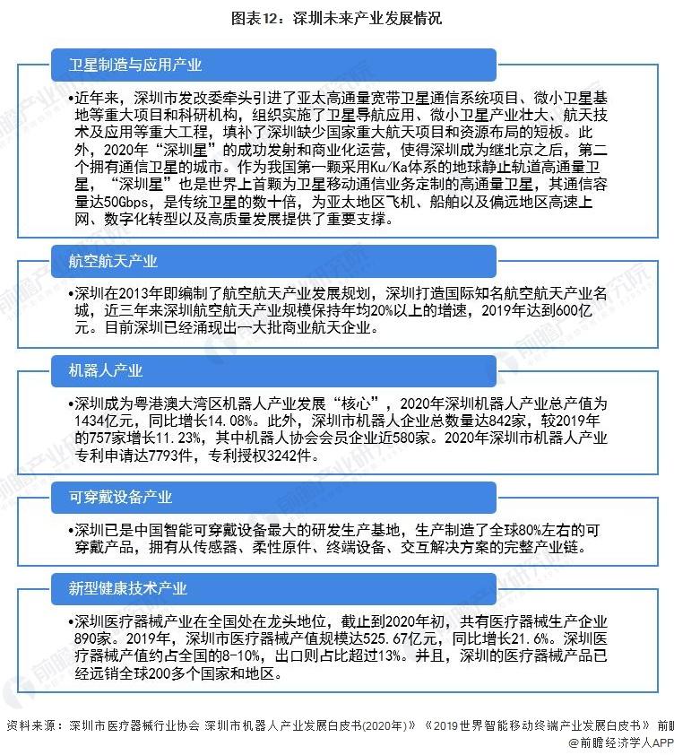 图表12:深圳未来产业发展情况
